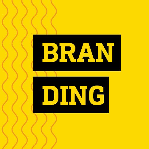 Quadro amarelo lettering branding