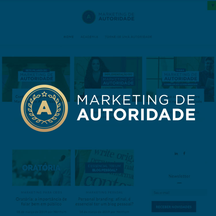 Img Marketing de autoridade. Fundo azul.