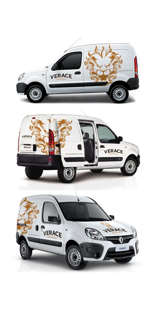 Carro branco plotado com Leão e Varace