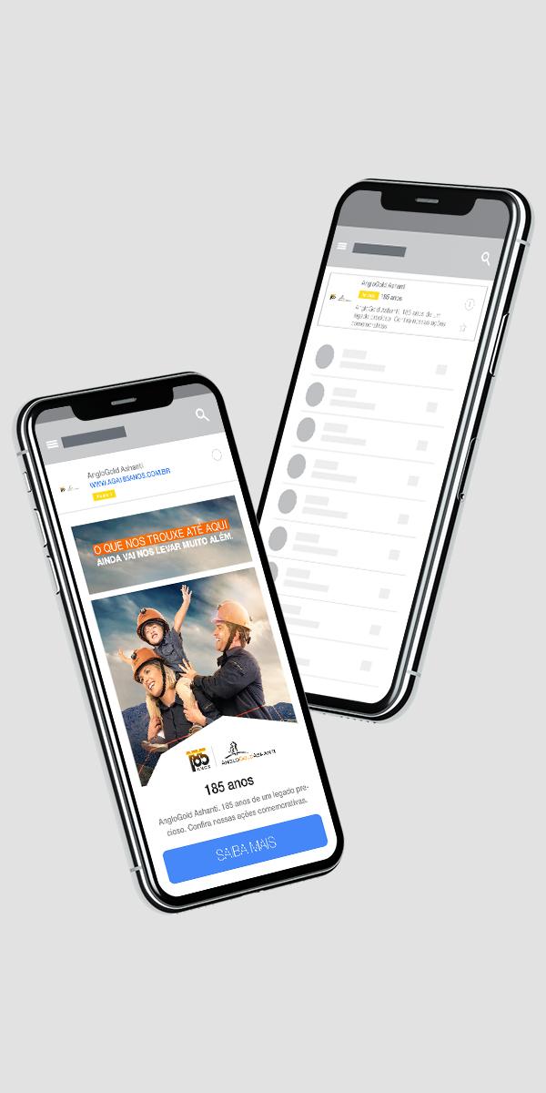 Simulação de anúncio de e-mail aplicado em celular. Publicidade
